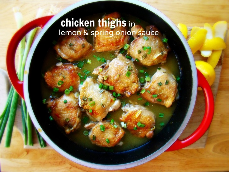 Chicken thighs in lemon & spring onion sauce
