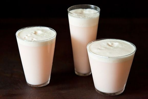 ... rhubarb syrup 1 ounce heavy cream 1 or 2 drops rosewater 1 egg white