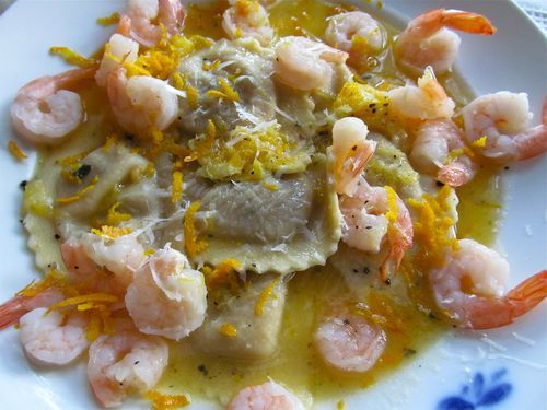 This Butternut Squash Agnolotti with Shrimp Grand Marnier Sauce recipe ...