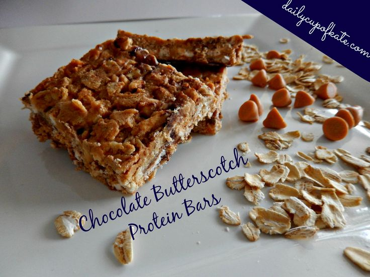 Chocolate Butterscotch Protein Bars via Daily Cup of Kate - yum!