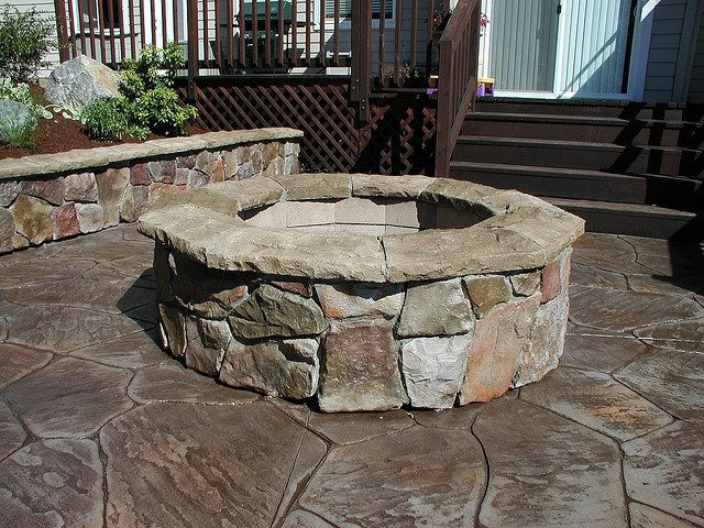 Cultured stone fire pit outdoor spaces pinterest