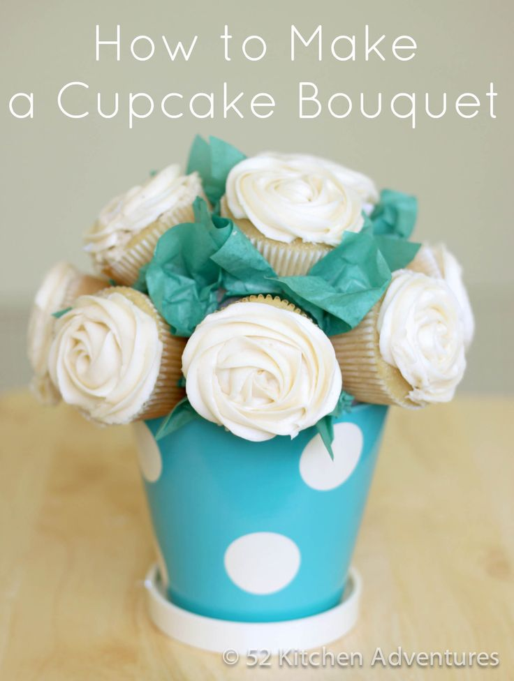 """Place a styrofoam ball into flower pot. Place two toothpicks in each area where you want a cupcake. Note: around the sides, insert toothpicks at 45° angle, otherwise cupcakes will fall off after a while. Slide cupcake onto each pair of toothpicks. Cover as much of the styrofoam as you can. Put tape at the pinched part of the tissue paper and stick it to the exposed styrofoam in between the cupcakes. Make more tissue paper """"leaves"""" until you cover all the uncovered areas. And Voila!"""