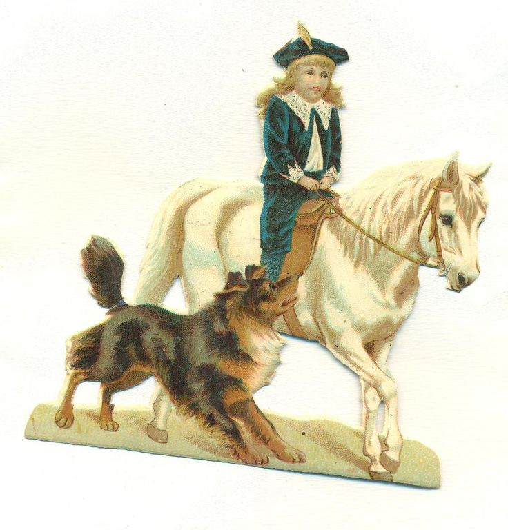 victorian scrap boy riding white horse with dog