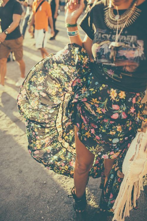 Perfect festival look. Floral skirt, vintage style Tshirt and lots of jewellery x