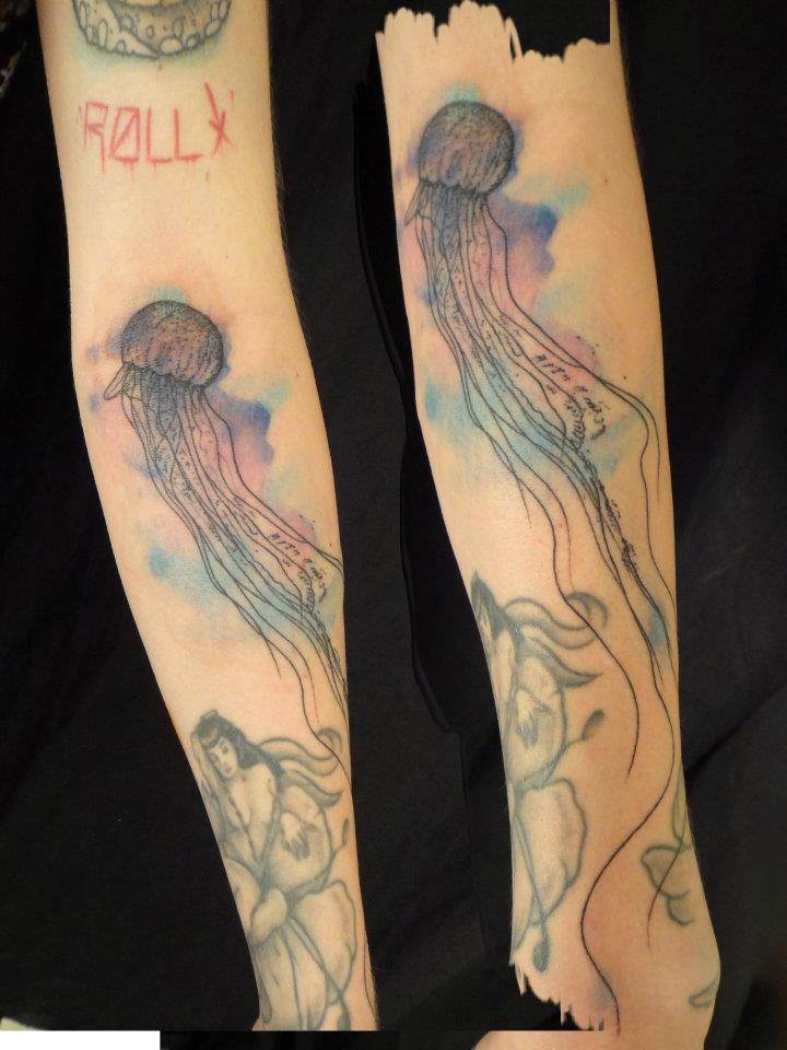 Tattoo By Xoil Jellyfish Watercolor  Tattoos If You Please