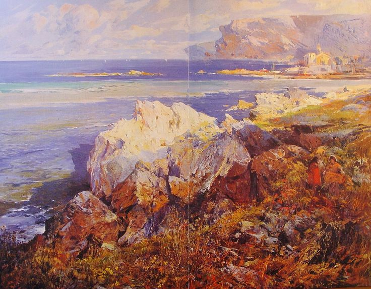 Eliseo Meifrén Roig. Rocas Blancas, Cadaqués, Girona. Óleo sobre lienzo. Firmado. 202 x 250 cm. La Ilustració Catalana, julio de 1907.