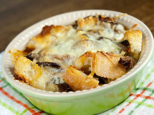 ... Leek and Cheese Strata made with Parmesan and Fontina Cheese. Mmmm