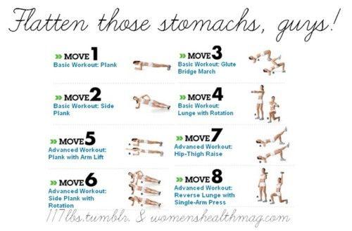 Flat Stomach Exercise Chart   Fit   Pinterest