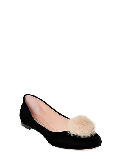 NINA RICCI - 10MM VELVET & MINK BALLERINA FLATS - LUISAVIAROMA - LUXURY SHOPPING WORLDWIDE SHIPPING - FLORENCE