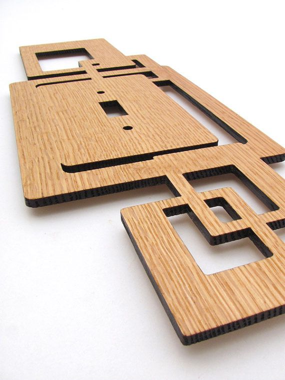 Modern Rustic Squares Wood Switch Plate Cover made from Sustainable Harvest Red Oak Wood - Tagt Team . Timber Green Woods