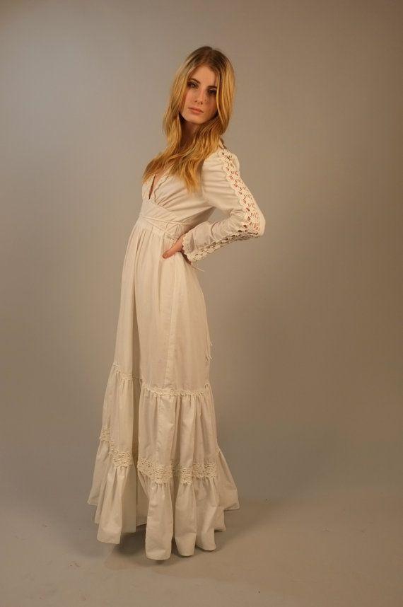 Vintage 1970s gunne sax maxi wedding dress for Gunne sax wedding dresses