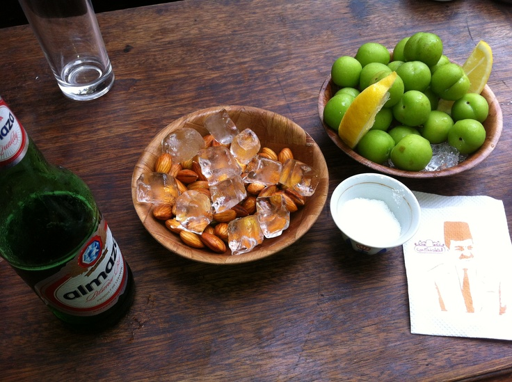Falamanki beer and fruit on ice | Lebanon | Pinterest
