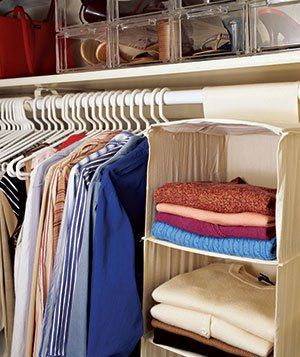 Slim plastic shoe boxes stack compactly, while hanging canvas shelves offer an inexpensive alternative to built-ins.