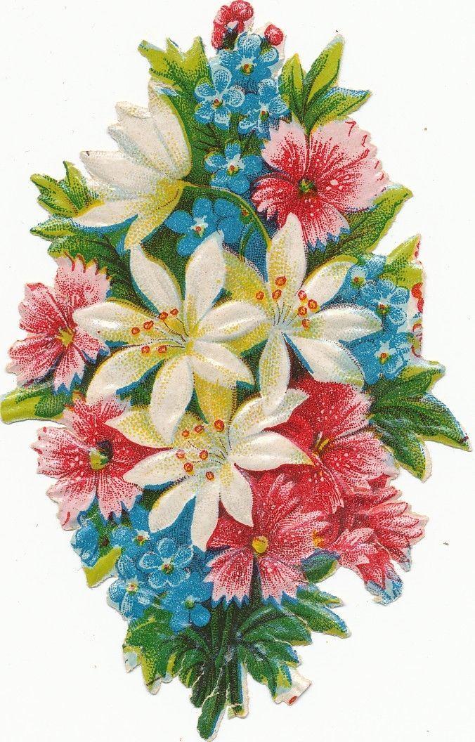 alte Oblate Glanzbild um 1920/30  Blumenstrauß de.picclick.com