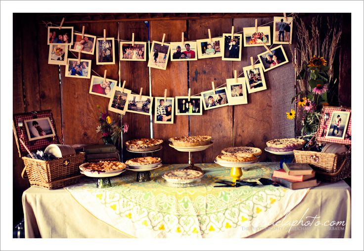 A really fun party buffet set up. Pie anyone?