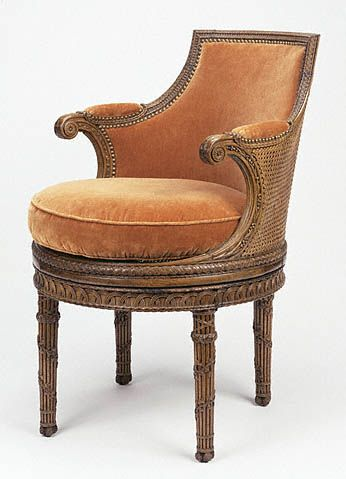 Marie-Antoinette sat in this chair while her servants arranged her hair and applied her makeup in her bedroom at the Petit Trianon