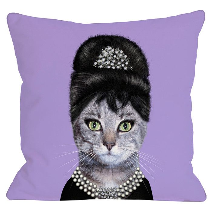 Audrey Hepburn Cat Pillow