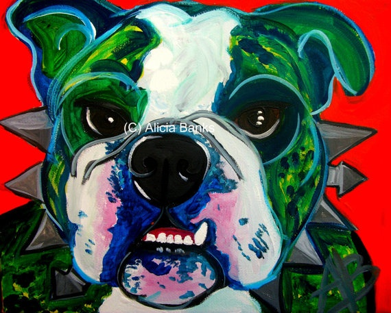 English Bulldog Art Print Modern Dog Art Print English by ABpopart, $35.00