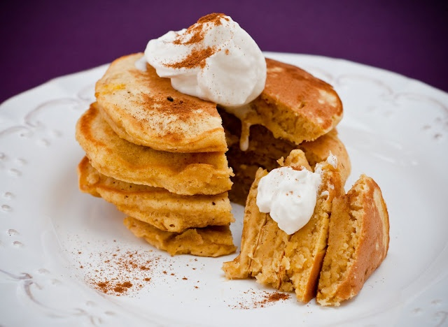 Brown butter pumpkin pancakes with bourbon mascarpone whipped cream ...