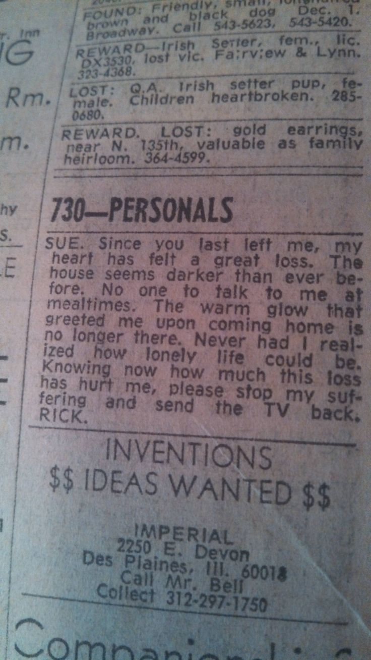 personal ad the newspaper