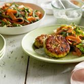 Couscous Fritters with Shaved Asparagus & Carrot Salad - Coles Recipes ...