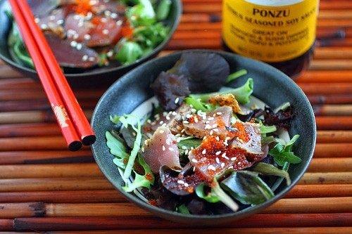 SEARED AHI TUNA SALAD WITH MIZKAN PONZU | Food | Pinterest