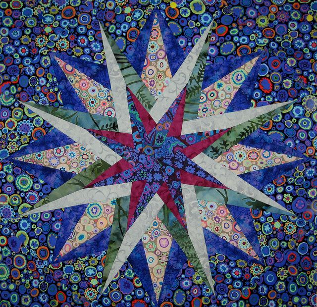 Paper pieced star made with Kaffe fabrics