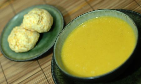 butternut squash amp apple soup with cheddar biscuits