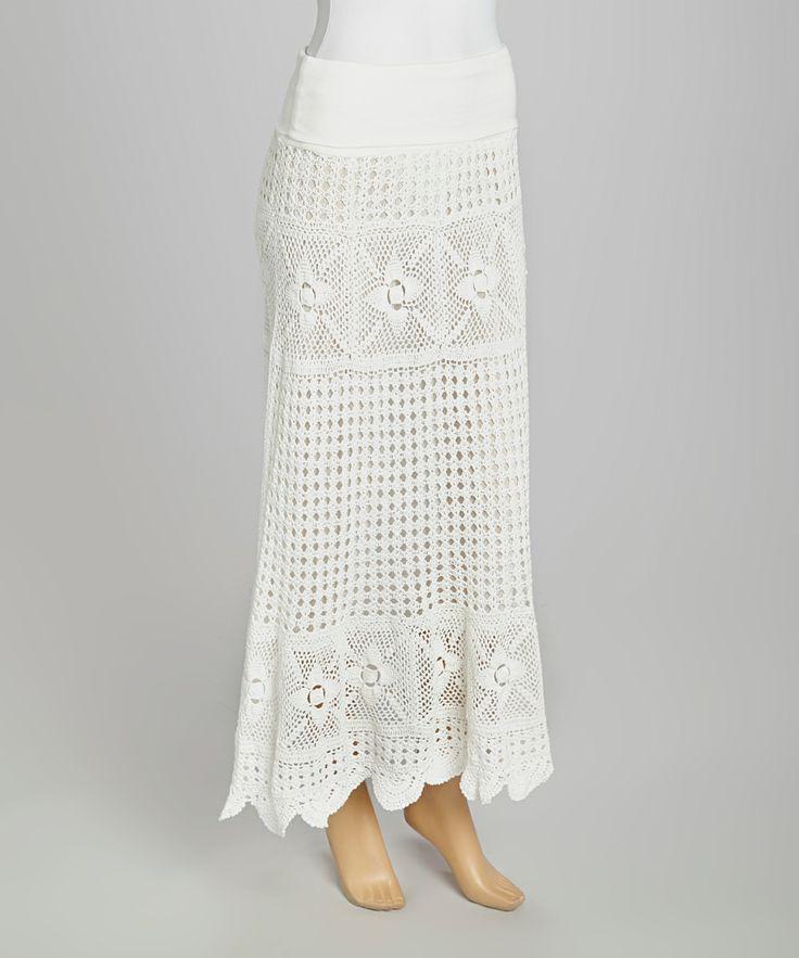 white crocheted maxi skirt my way