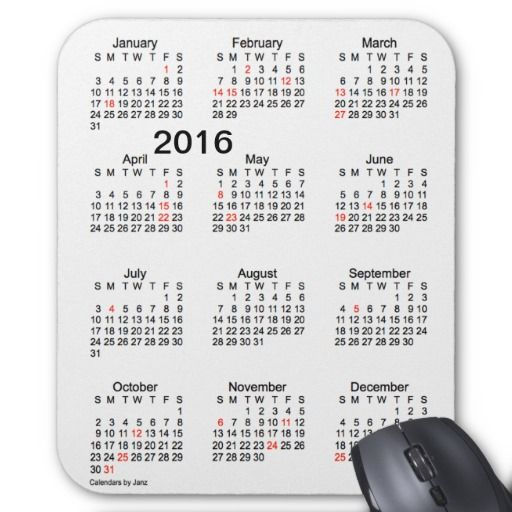 2016 Large Print Calendar with Holidays Mousepad Design from Calendars ...