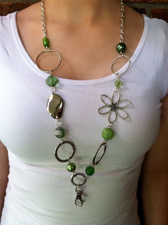 green and silver lanyard necklace