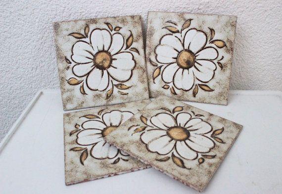 Vintage Ceramic Tile Set 1970s Decorative Wall Art Flower