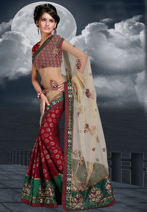 Deep Fawn and Maroon Net Saree with Blouse