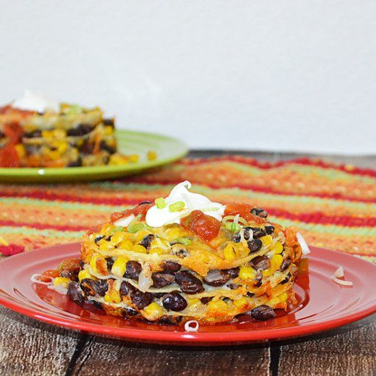 Layer Tortilla Pie with Black Beans and Corn (vegetarian, with # ...