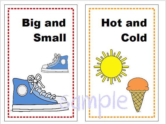Opposite wall cards homeschool classroom teaching opposites