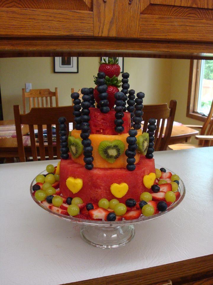 birthday cake made of fruit :)