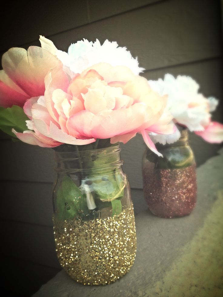 mason jar boy baby shower centerpieces like glitter mason jar