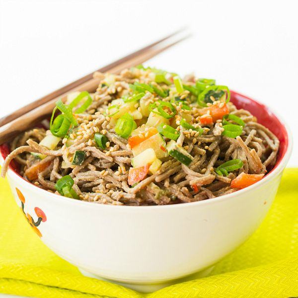 Cold Soba Noodle Salad with Spicy Peanut Sauce | browneyedbaker.comfor ...