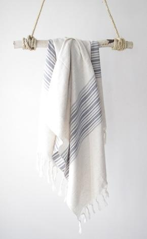 Laviva Home turkish hamman towel natural with grey stripes $60