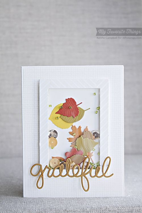 Burlap Background, Washi Patterns, Falling Leaves Die-namics, Rectangle Frames Die-namics, Words of Gratitude Die-namics - Keisha Campbell #mftstamps