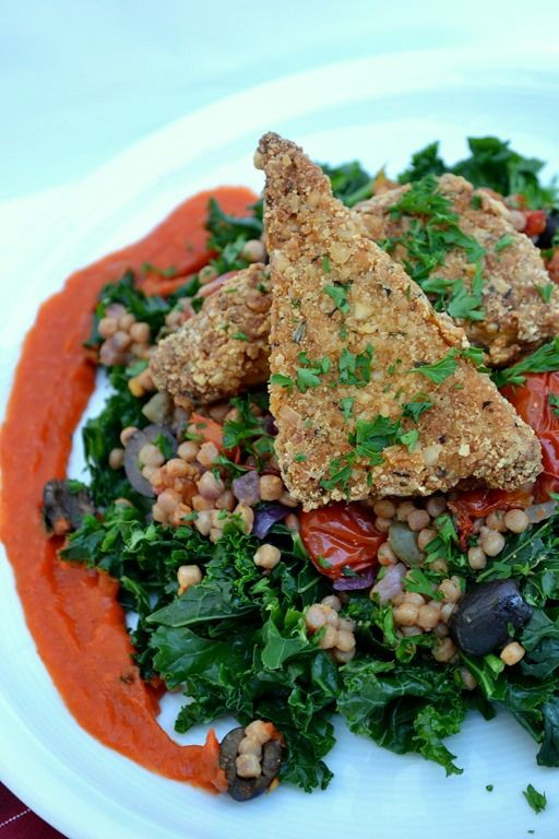 Israeli Couscous With Red Pepper Sauce Recipe — Dishmaps