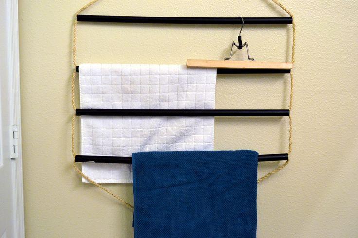 Small space diy flat towel rack diy decor pinterest - Towel racks for small spaces concept ...