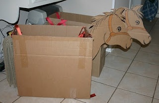 Horse costume out of carton box