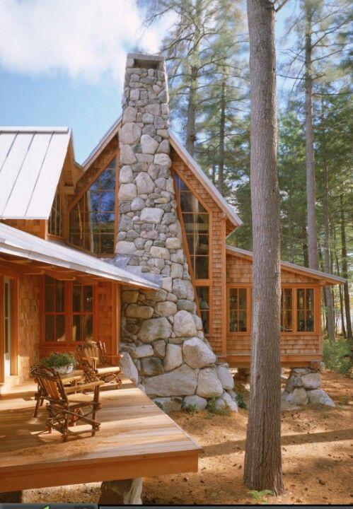Stone Residential Chimney My Scandinavian Log Cabin
