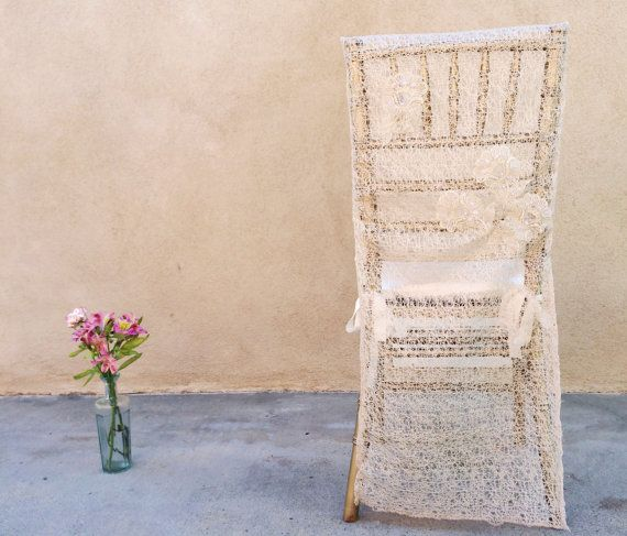 Bridal chair cover wedding chair sheer chair cover shabby chic wed