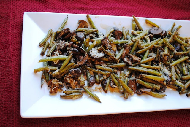 roasted green beans and mushrooms. Ok liked the way the mushrooms ...