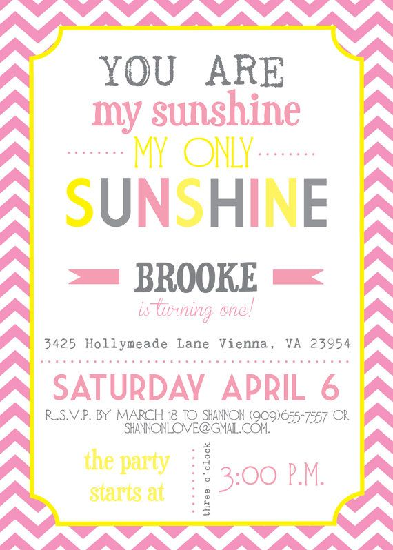 you are my sunshine pink chevron birthday or baby shower invitations