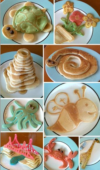 Pancake Art.  How cute are these pancakes?