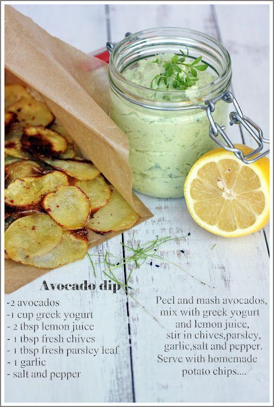 Avocado dip w/greek yogurt and homemade potato chips. #shopfesta