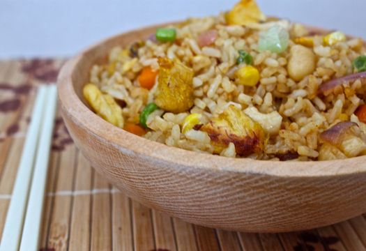 ... : Meatless Maduros Fried Brown Rice with Cashews and Vegetables